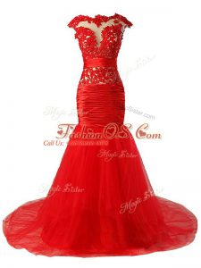 Sexy Red Mermaid Tulle Scoop Cap Sleeves Lace and Appliques and Ruching Zipper Prom Party Dress Brush Train