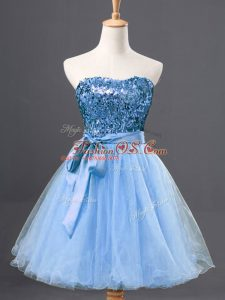 Mini Length Zipper Ball Gown Prom Dress Light Blue for Prom and Party with Sequins