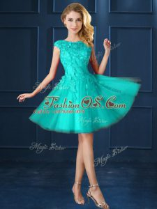 Tulle Cap Sleeves Knee Length Vestidos de Damas and Lace and Belt