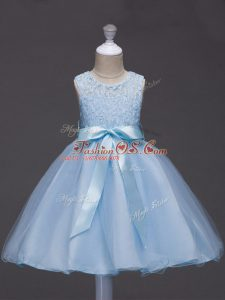 Light Blue Ball Gowns Lace and Belt Little Girls Pageant Gowns Zipper Tulle Sleeveless Knee Length