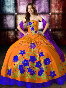 Orange Red Vestidos de Quinceanera Military Ball and Sweet 16 and Quinceanera with Embroidery Strapless Sleeveless Lace Up
