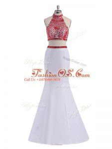 Beautiful White Two Pieces Beading Prom Dresses Criss Cross Satin Sleeveless Floor Length
