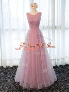 Tulle Scoop Sleeveless Zipper Beading and Belt Evening Dress in Pink