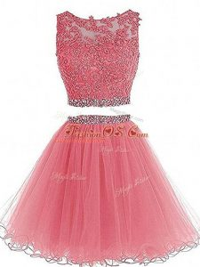 Fantastic Pink Scoop Neckline Beading and Lace and Appliques Party Dress Wholesale Sleeveless Zipper