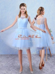 Noble Tulle Sleeveless Knee Length Dama Dress for Quinceanera and Ruching and Belt