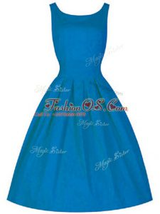Simple A-line Wedding Guest Dresses Blue Scoop Taffeta Sleeveless Knee Length Zipper