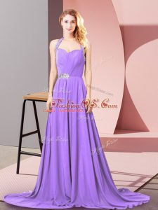 Lavender Chiffon Zipper Dress Like A Star Sleeveless Brush Train Beading and Ruching