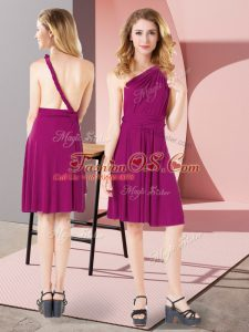 Mini Length Criss Cross Bridesmaid Gown Fuchsia for Prom and Party and Wedding Party with Ruching