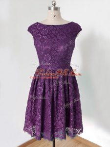 Perfect Lace Bridesmaid Dress Dark Purple Lace Up Sleeveless Knee Length