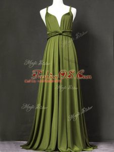 Olive Green Sleeveless Ruching Floor Length Bridesmaid Dresses