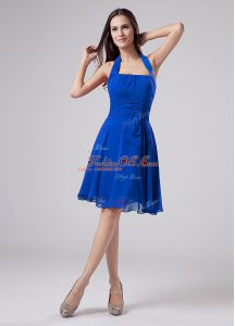 Knee Length Blue Mother Of The Bride Dress Halter Top Sleeveless Zipper