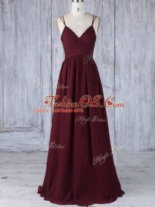 Best Straps Sleeveless Chiffon Bridesmaid Dresses Appliques Zipper