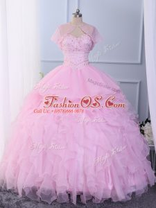 Pink 15 Quinceanera Dress Military Ball and Sweet 16 and Quinceanera with Beading and Ruffles Sweetheart Sleeveless Lace Up