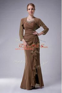Lovely Brown Zipper Straps Beading Mother Of The Bride Dress Chiffon Sleeveless