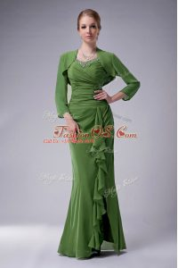 Extravagant Dark Green Straps Zipper Beading Mother Of The Bride Dress Sleeveless