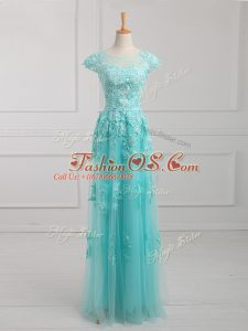 Empire Mother Of The Bride Dress Aqua Blue Scoop Tulle Short Sleeves Floor Length Lace Up