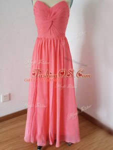 Flare Watermelon Red Zipper Wedding Party Dress Ruching Sleeveless Floor Length