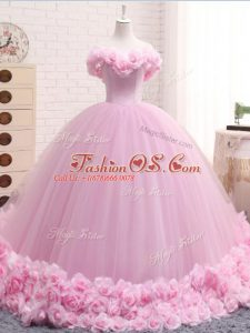 Baby Pink Tulle Lace Up Sweet 16 Quinceanera Dress Sleeveless Brush Train Hand Made Flower