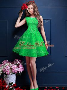 Custom Made Green A-line Tulle Bateau Sleeveless Beading and Lace Knee Length Lace Up Bridesmaid Gown