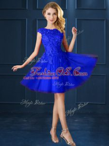 Designer Bateau Cap Sleeves Bridesmaids Dress Knee Length Lace and Belt Blue Tulle