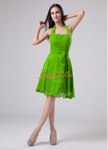Sleeveless Zipper Knee Length Ruching Mother Of The Bride Dress