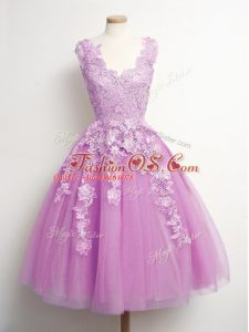 Best A-line Bridesmaid Dress Lilac V-neck Tulle Sleeveless Knee Length Lace Up