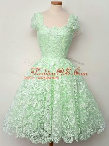 Apple Green Lace Up Bridesmaids Dress Lace Cap Sleeves Knee Length