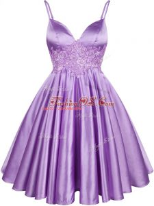 Knee Length Lace Up Wedding Party Dress Lilac for Prom and Party and Wedding Party with Lace