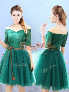 Fine Green A-line Tulle Off The Shoulder Half Sleeves Lace Knee Length Lace Up Bridesmaids Dress
