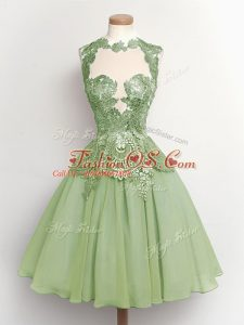 Green Lace Up Wedding Party Dress Lace Sleeveless Knee Length