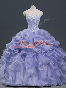 Custom Design Floor Length Lavender Vestidos de Quinceanera Sweetheart Sleeveless Lace Up