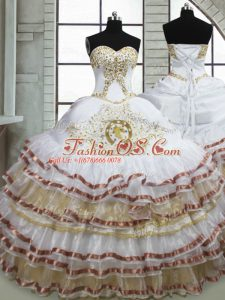 Sweetheart Sleeveless Lace Up Quince Ball Gowns White Organza