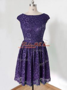 Purple Lace Up Scoop Lace Bridesmaid Dresses Lace Cap Sleeves