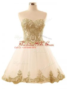 Sleeveless Mini Length Lace and Appliques Lace Up Prom Evening Gown with Champagne