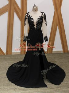 Most Popular Long Sleeves Chiffon Brush Train Zipper Mother Of The Bride Dress in Black with Lace and Appliques