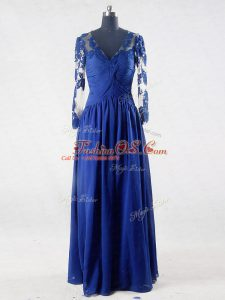 Suitable Floor Length Empire Long Sleeves Blue Mother Of The Bride Dress Zipper