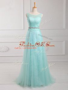 Customized Apple Green Prom Gown Prom and Party with Lace and Belt Scoop Long Sleeves Zipper