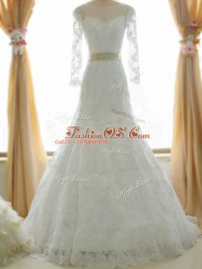 Vintage Tulle Long Sleeves Wedding Dress Brush Train and Lace and Appliques