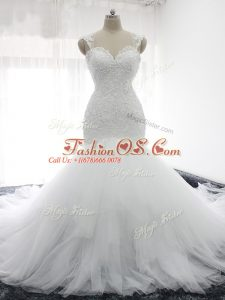 Suitable White Backless Straps Beading and Ruffles Wedding Dress Tulle Sleeveless Court Train
