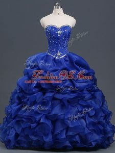 Organza Sweetheart Sleeveless Lace Up Beading and Ruffles and Pick Ups Sweet 16 Dress in Royal Blue