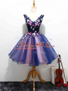Superior Lace and Appliques and Hand Made Flower Ball Gown Prom Dress Multi-color Lace Up Sleeveless Mini Length