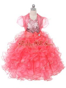 Beautiful Floor Length Ball Gowns Sleeveless Coral Red Kids Pageant Dress Lace Up