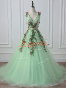 Apple Green V-neck Lace Up Belt and Hand Made Flower Evening Dress Court Train Sleeveless