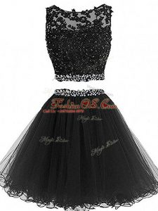 Custom Designed Tulle Sleeveless Mini Length Prom Gown and Beading and Lace and Appliques