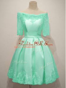 Turquoise Lace Up Off The Shoulder Lace Bridesmaids Dress Taffeta Half Sleeves