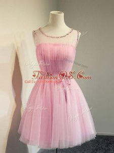 Dazzling Belt Wedding Party Dress Rose Pink Lace Up Sleeveless Knee Length