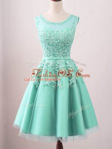 Pretty Tulle Sleeveless Knee Length Bridesmaid Dress and Lace