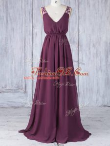 Captivating Sleeveless Backless Floor Length Appliques Bridesmaid Gown