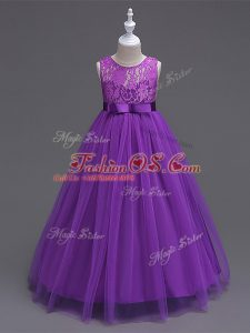 Purple Sleeveless Tulle Zipper Kids Pageant Dress for Wedding Party