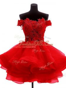 Sweet Mini Length Red Ball Gown Prom Dress Off The Shoulder Sleeveless Zipper